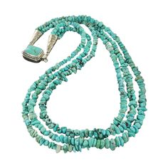 LONE MOUNTAIN TURQUOISE NUGGET NECKLACE LIGHT BLUE 3 STRAND from New World Gems
