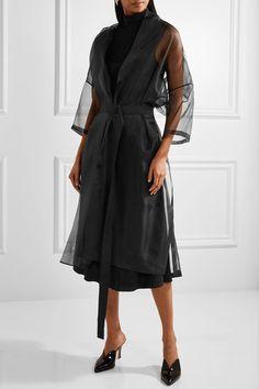 Jil Sander - Belted Silk-organza Coat - Black - FR38