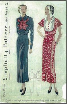 1930s Ladies Dress With Interesting Yoke Options Sewing Pattern - Simplicity #1645