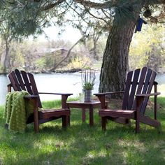 This set of two comfortable and sturdy outdoor chairs is perfect for your lawn, patio, or vacation home. It comes with a side table so you can relax in the beauty of the great outdoors with someone special and enjoy a couple of drinks or even food from your barbecue grill. The chairs and table are made with durable red shorea wood that resists insects and rot, so you can enjoy many an outdoor siesta together for years to come. This beautiful 3 piece set is available exclusively at…