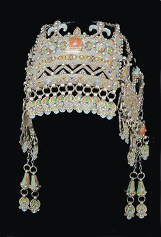 Morocco | Headdress; silver filigree work, coral and glass insets, enamel | ca. 19th century, Anti Atlas region. Christies