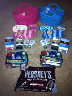 Hospital Survival Kit. Travel pack for Dad... For Mom: hand sanitizer, lotion, chapstick, soft fuzzy socks, sleep mask, chocolate, face wash wet cloths. Pink for a girl baby / blue for a boy baby.