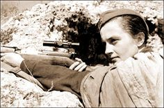 Unlike many of the young girl snipers of the Soviet Army, Lyudmila Pavlichenko was an accomplished sharpshooter before joining the military. She was older than the others as well, and was in her fourth year of study at Kiev University when war broke out. The Russian Army sent around 2,000 trained female snipers to the front during the war; only around 500 survived. Pavlichenko had by far the greatest war record of them all, with 309 confirmed kills, including 36 enemy snipers.