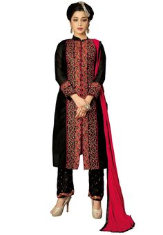 #Black #Chanderi #silk #Chuddidar #Kameez with #Dupatta.  #Black #Chanderi #silk #kameez #designed #with #Zari,#Resham #Embroidery #And #Patch #Patta #Work.  INR: 1,122.00  With Exclusive Discount  Grab: http://tinyurl.com/z2nqto3