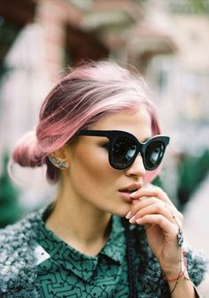 Adorable hair color, classy lady. sunglasses