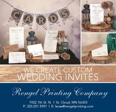 We create custom wedding invites at Rengel Printing Company! Custom Wedding Invitations, Invites, Holiday Cards, Printing, Create, Birthday, Personalised Wedding Invitations, Christian Christmas Cards, Birthdays