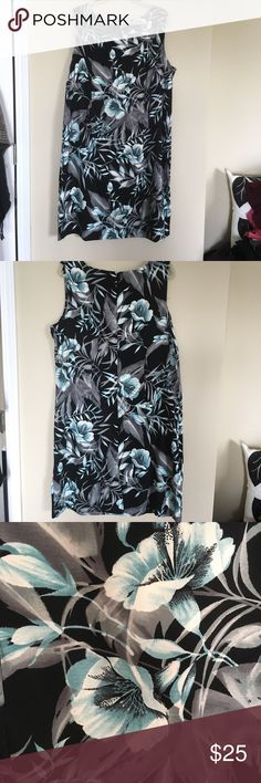 """Black Grey & Aqua Floral Sheath Black Grey & Aqua floral Patterned Sheath. Square neck. Easy care fabric - 97% polyester/ 3% Spandex. 41"""" from shoulder to hem. French Connection Dresses"""