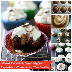 We can barely handle the deliciousness created by our friend Girl versus Dough in these Malted Chocolate Fudge Stuffed Cupcakes with Rainbow Chip Frosting! Melting Chocolate Chips, Chocolate Fudge, Rainbow Chip Frosting, Cupcake Cakes, Cupcakes, Malted Milk, Unsweetened Chocolate, Baking Cups, Dessert Recipes