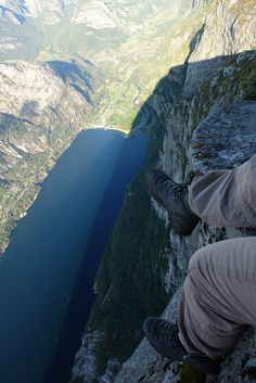 Pulpit Rock (Preikestolen), Norway - 604 meters (1982 feet) straight down! Nope. I'll just file this under never going to happen.