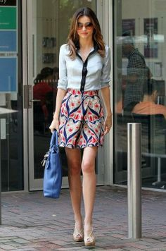 Miranda Kerr. Street fashion, outfit, pretty, girly. | From live-breathe-fashion.tumblr.com