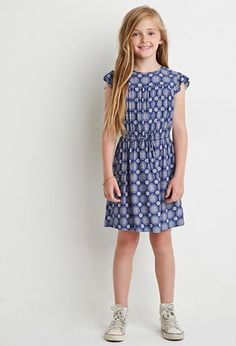 Cap-Sleeved Medallion Print Dress (Kids) | Forever 21 girls - 2000172322