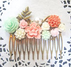 Pink and Mint Green Wedding Hair Comb Bridal Head Piece Floral Jane Austen Bridesmaid Gift Pastel Green Pink Flower Hair Pin Soft Romantic