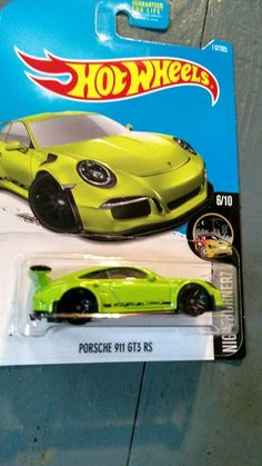2015 Mattel Hot Wheels RHOST Porsche 911 GT3 RS Night Burnerz Lime Green Car  #MattelHotWheels #Porsche