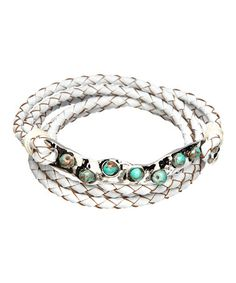 Loving this Turquoise & White Wrap Bracelet on #zulily! #zulilyfinds