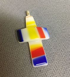 Fused Glass Cross Pendant- Handmade By Me . I will be adding more daily! Backside is treated with a glaze for comfort of wear and to help secure the bail. This is a handmade by ME item! | eBay!
