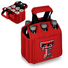 When carrying a 6-Pack, the Texas Tech Red Raiders Six Pack Cooler is the perfect way to get them to your final destination. The TTU Red Raiders Six Pack is a beverage carrier that fits most water, be