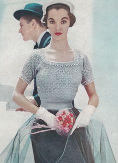 Vintage Crochet PATTERN to make Formal Designer Lace Summer Beaded Blouse 1950s