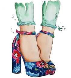 #Summer #Glamour #Shoes #FashionIllustrations @aneta_stegent| Be Inspirational ❥|Mz. Manerz: Being well dressed is a beautiful form of confidence, happiness & politeness