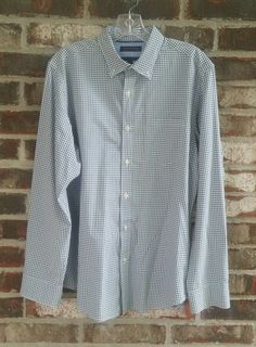 167322a83b3 Banana Republic Custom 078 Wash Shirt Medium M Slim Fit Green Blue White  Plaid