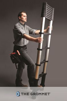 As easy to store as it is to climb, this expandable ladder extends rung-by-rung into a full-fledged ladder then collapses into a slim profile that's easy to carry and store. Dads and husbands will love this for Father's Day! Cool Tech Gadgets, New Gadgets, Aerospace Engineering, Cool Technology, How To Slim Down, For Everyone, Brick Wall, Telescope, Innovation Design