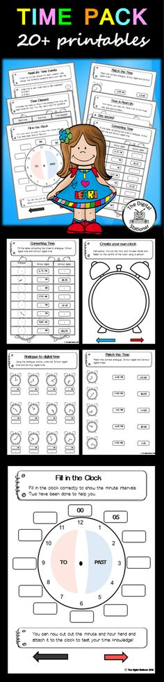 $2 - Telling the Time - 20+ worksheets printables (analog & digital) games maths teaching resources