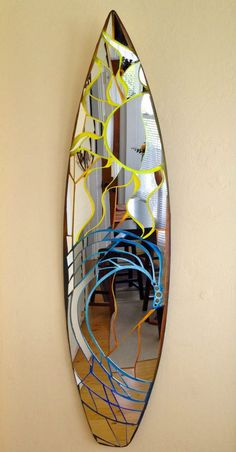 Vertical surfboard mirror surf art sun & wave