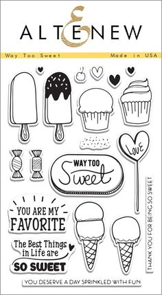 Illustrated by: May Sukyong Park This set has all things cute, sweet and edible! You will love the little ice cream bars, cupcakes and candies packed in this set, and the sentiments are simply adorabl