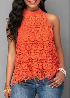 Lace Panel Open Back Orange Blouse | Rosewe.com - USD $30.95