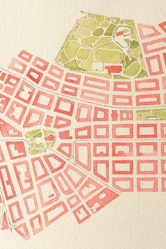 Vinohrady   Hand crafted map of a district in Prague. Watercolor city map of Vinohrady, showing Náměstí Míru, Riegrovy Sady and Náměstí Jiřího z Poděbrad. Cotton paper, 300 gsm.