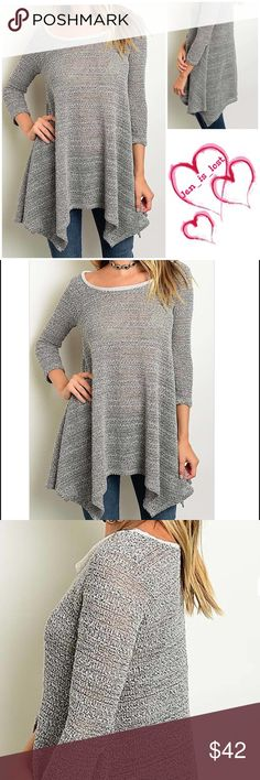 Coming Soon 3/4 SLEEVE ROUND NECK ASYMMETRICAL HEM KNIT TUNIC Gray  Fabric Content: 92% POLYESTER 8% SPANDEX Tops Tunics