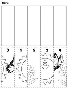 1 Spring flowers bugs preschool cut and order for numbers Package includes five no prep worksheets Kindergarten Math Worksheets, Homeschool Kindergarten, Preschool Learning Activities, Spring Activities, Preschool Activities, Ordering Numbers, Cut And Paste, Spring Crafts, Spring Flowers