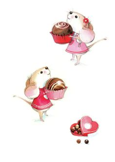 Mikki Butterley - Mouse and chocolate Coffee Cup Art, Mouse Illustration, Mouse Crafts, Baby Posters, Cute Mouse, Fairy Art, Cute Characters, Illustrations, Cute Drawings
