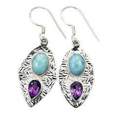 Seductive Sterling Silver Larimar, Amethyst Dangle Earrings