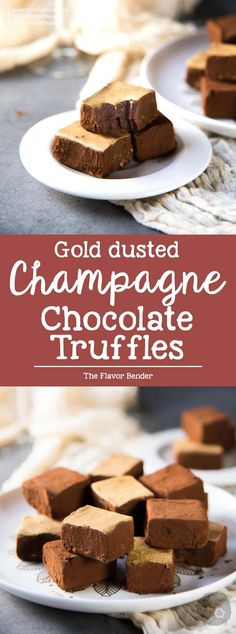 Chocolate Champagne Truffles - melt in your mouth soft velvety decadent fruity truffles that is easy and less messy to make. Dusted with cocoa powder and gold luster dust. Perfect for celebrations.Dini @ The Flavor Bender Köstliche Desserts, Best Dessert Recipes, Candy Recipes, Chocolate Desserts, Sweet Recipes, Delicious Desserts, Drink Recipes, Yummy Recipes, Dinner Recipes