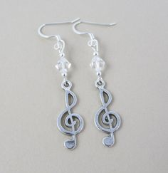 Treble Clef Earrings G Clef Earrings Silver Music by BeadBrilliant, $15.00 #trebleclef #musicearrings #gclef