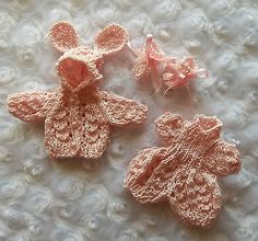 Powder pink onesie & jacket set of clothes for 4.5 inch OOAK sculpt  baby doll