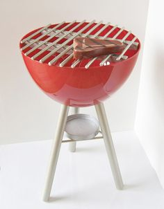 diy children's bbq...made from a large bowl and wooden dowels! put another shrimp on the barbie!