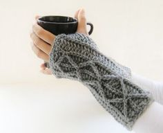Adeline Fingerless Mitts or Arm Warmers, Easy Crochet Pattern with Faux Cables (…