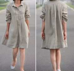 Pleated Linen  Shirt Dress/ 15 Colors/ ANY SIZE by Ramies on Etsy, $69.00