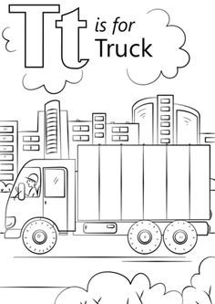 T is for Truck coloring page from Letter T category. Select from 26388 printable crafts of cartoons, nature, animals, Bible and many more.