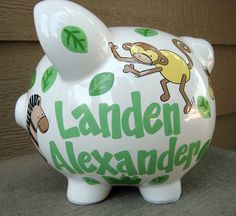 Ceramic Personalized Large Jumbo Elephant Coin Bank By