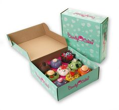 Candy Cakes packaging for cupcakes.