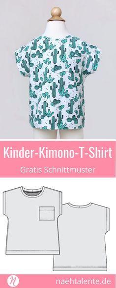 Kindershirt im Kimono-Stil – Freebook | nähen | Pinterest