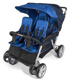 FD-4140037 Foundations, The Quad LX 4-Passenger Dual Canopy Folding Stroller, Blue