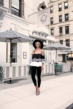 """Loeil off-the-shoulder top, Current Elliot """"The Stiletto"""" skinny jeans #StreetStyle"""
