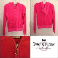 NEW LISTING Juicy Couture Hoodie Jacket Pink.  Zip front. 80% cotton 20% polyester.  Size M. (1/9) Juicy Couture Jackets & Coats
