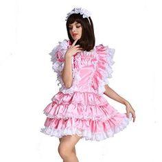 Gocebaby-Sissy-Girl-Maid-Satin-Pink-Lockable-Dress-Costume-Uniform-Crossdressing-0-1