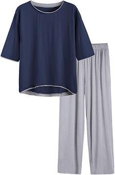 7189cb32b Latuza Women s V-Neck Sleepwear Short Sleeve Pajama Set XL Black at ...