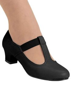 "Stretch T-strap pump has breathable, padded tricot lining. Cushioned insole and lightweight outsole. 1-1/4"" heel. Urethane. 10, 11, 12 whole sizes only. Imported. In whole and half sizes."