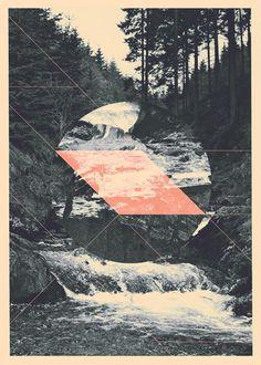 Collaged geometric photo print.